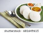 idli  sambar vada and coconut... | Shutterstock . vector #681649615