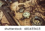 vintage nautical pirate... | Shutterstock . vector #681655615