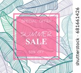 summer sale banner  poster with ... | Shutterstock .eps vector #681661426