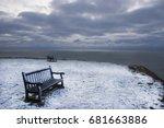 Snowy Seashore Landscape With...