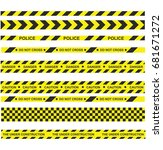 police line and danger tapes.... | Shutterstock .eps vector #681671272
