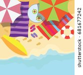 top view of summer vacation... | Shutterstock .eps vector #681677242