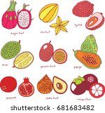 colorful hand drawn set with... | Shutterstock .eps vector #681683482
