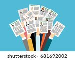 applying for job  giving cv ... | Shutterstock .eps vector #681692002
