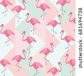abstract vintage summer pattern ... | Shutterstock .eps vector #681694738