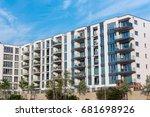 modern block of flats with... | Shutterstock . vector #681698926