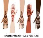 hands henna | Shutterstock .eps vector #681701728