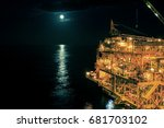 offshore the night industry oil ... | Shutterstock . vector #681703102
