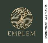 leaves logo.nature logo | Shutterstock .eps vector #681715045
