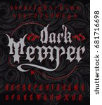 dark temper typeface. stylish... | Shutterstock .eps vector #681716698