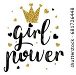 girl power slogan with glitter... | Shutterstock .eps vector #681726448