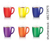 six bright coffee mugs with... | Shutterstock .eps vector #68173975