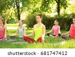 group of young women practicing ... | Shutterstock . vector #681747412