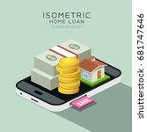 vector isometric home and money ... | Shutterstock .eps vector #681747646