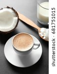 cup of tasty coconut coffee ... | Shutterstock . vector #681751015