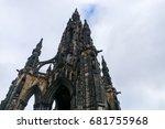 edinburgh monument in winter | Shutterstock . vector #681755968