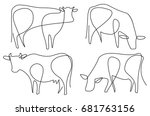 Stock vector cow one line drawing 681763156