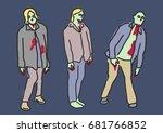 zombie and ghost halloween.  ... | Shutterstock .eps vector #681766852