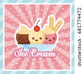 ice cream delicious cartoon | Shutterstock .eps vector #681774472