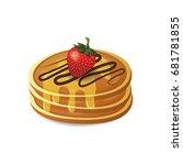 pancake   strawberry vector...   Shutterstock .eps vector #681781855