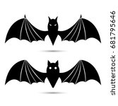 vector silhouettes of bats...   Shutterstock .eps vector #681795646