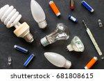 hazardous waste on a black...   Shutterstock . vector #681808615