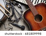 a group of musical instruments... | Shutterstock . vector #681809998