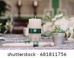 wedding decorated candles with... | Shutterstock . vector #681811756