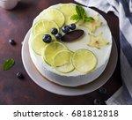 lemon yogurt mousse cake | Shutterstock . vector #681812818