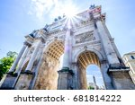 famous siegestor in munich - germany - stock photo
