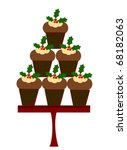 Christmas cupcakes vector - stock vector