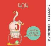 404 error message funny cat in... | Shutterstock .eps vector #681823042