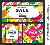 summer sale vector banners set... | Shutterstock .eps vector #681830572