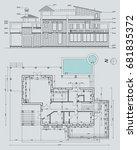 autor's architectural villa... | Shutterstock .eps vector #681835372