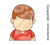 portrait little boy cartoon kid ... | Shutterstock .eps vector #681849352