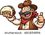 mexican cowboy holding a taco.... | Shutterstock .eps vector #681854896