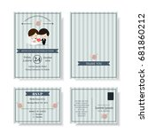 set of cute couple cartoon... | Shutterstock .eps vector #681860212