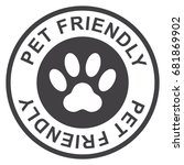 pet friendly stamp  black... | Shutterstock .eps vector #681869902