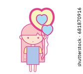 beauty girl with heart balloons ... | Shutterstock .eps vector #681870916