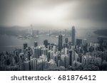 hongkong peak view at day  | Shutterstock . vector #681876412