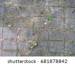 old tiles with weeds growing in ... | Shutterstock . vector #681878842