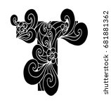 zentangle stylized alphabet.... | Shutterstock .eps vector #681881362