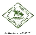 Grunge rubber stamp with palms and the word Hawaii inside, vector illustration