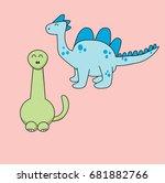 two cute dinosaurs. vector... | Shutterstock .eps vector #681882766