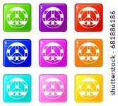lgbt peace sign icons of 9... | Shutterstock .eps vector #681886186