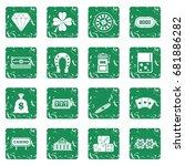 casino icons set in grunge... | Shutterstock .eps vector #681886282