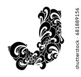 zentangle stylized alphabet.... | Shutterstock .eps vector #681889156