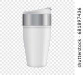 white thermos mug mockup.... | Shutterstock .eps vector #681897436
