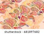 paisley watercolor ethnic... | Shutterstock . vector #681897682