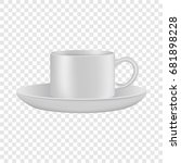 white cup and saucer mockup.... | Shutterstock .eps vector #681898228